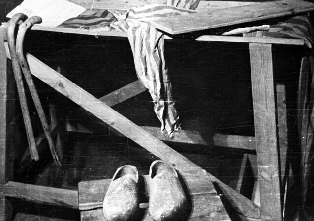 مقعد لتنفيذ الإعدام في معسكر اعتقال أوشفيتز. يعد معسكر أوشفيتز أكبر معسكرات الإبادة النازية وأكثرها بقاء لفترة زمنية طويلة. لذا، فقد أصبح أحد الرموز الرئيسية للمحرقة (الهولوكوست). وفقًا لوثائق محكمة نورمبرغ، قُتل 2.8 مليون شخص في المعسكر خلال فترة 1941-1945، 90٪ منهم كانوا من اليهود.