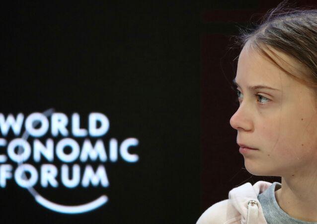 الناشطة البيئية السويدية غريتا تونبرغ في منتدى دافوس الاقتصادي العالمي 2020