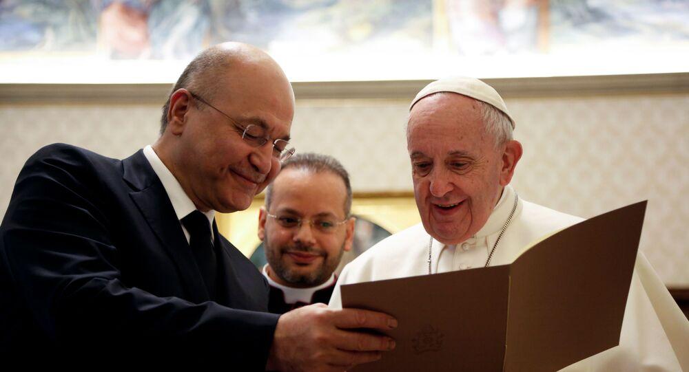 البابا فرنسيس يلتقي الرئيس العراقي برهم صالح في الفاتيكان، 25 يناير/ كانون الثاني 2020