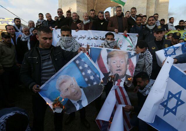 احتجاجات عقب إعلان صفقة القرن، جنوب قطاع غزة 29 يناير 2020