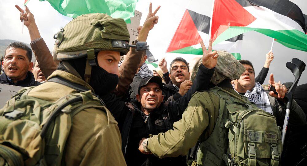 احتجاجات في وادي الأردن عقب إعلان صفقة القرن، الضفة الغربية 29 يناير 2020