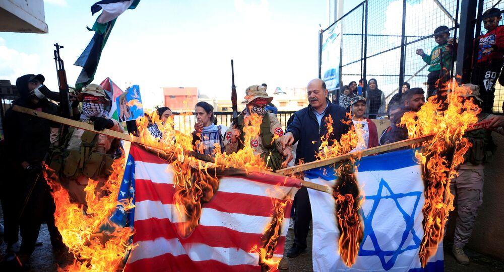 احتجاجات في عين الحلوة عقب إعلان صفقة القرن، لبنان 29 يناير 2020