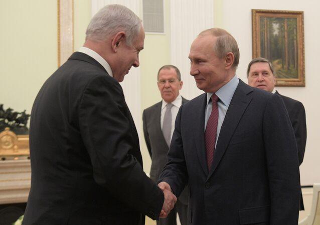 الرئيس الروسي فلاديمير بوتين يلتقي مع رئيس الوزراء الإسرائيلي بنيامين نتنياهو في الكرملين، موسكو 30 يناير 2020