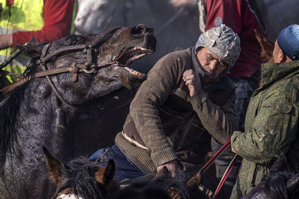 المسابقة الوطنية ألامان أولاك في قيرغيزستان، 25 يناير 2020. هي واحدة من الألعاب المحلية القديمة. ويستخدم فيها ذبيحة عنزة أو عجل. يستلم الجائزة اللاعب الذي يمسك بالذبيحة في منتصف دائرة ويلقيها في المكان المقصود.