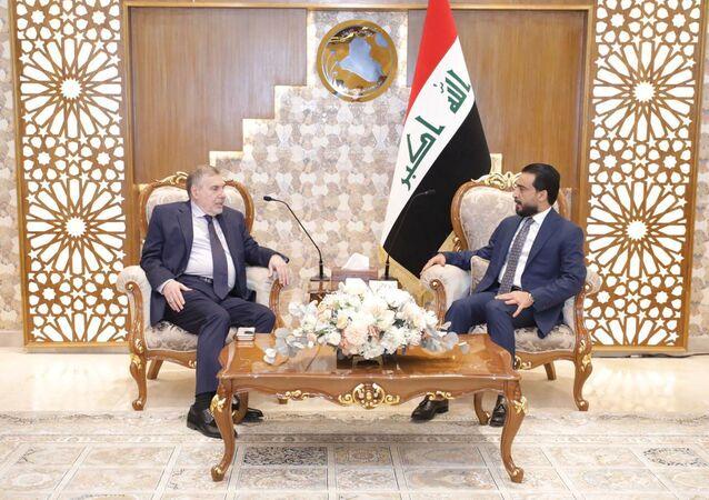 رئيس الوزراء العراقي المكلف محمد توفيق علاوي ورئيس مجلس النواب العراقي محمد الحلبوسي