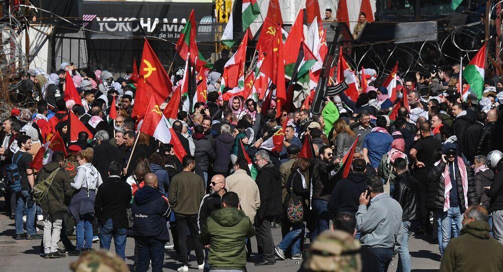 احتجاجات ضد صفقة القرن أمام السفارة الأمريكية في بيروت، لبنان 2 فبراير 2020