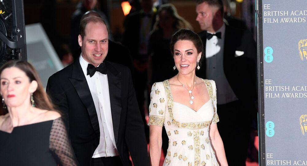 الأمير البريطاني وليام وزوجته كيت ميدلتون في حفل جوائز بافتا البريطانية، قاعة رويال ألبرت، العاصمة لندن، 2 فبراير/ شباط 2020
