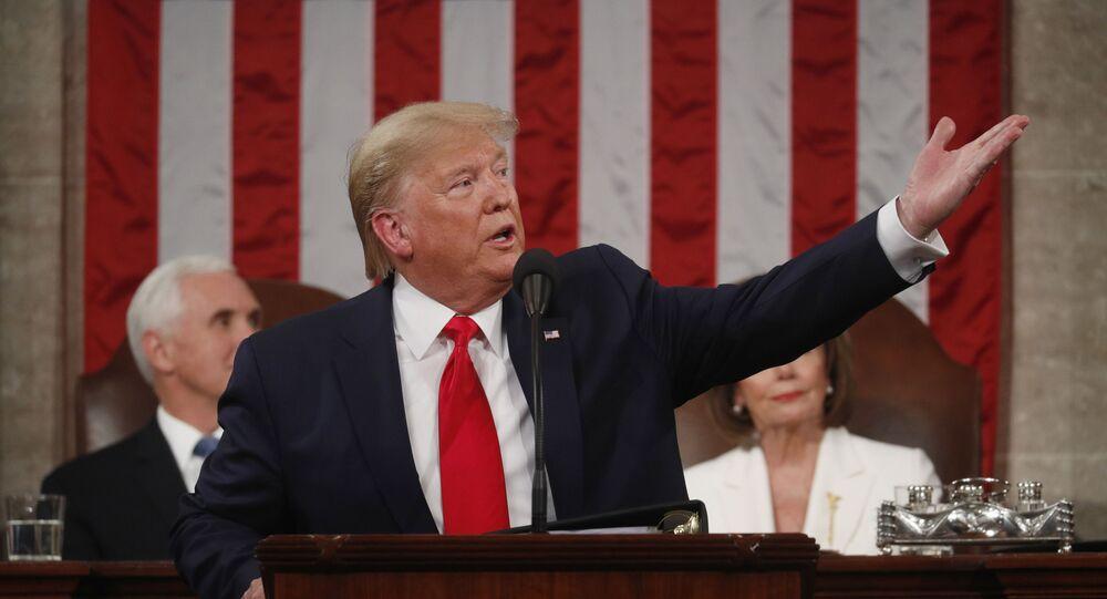 ترامب خلال خطاب حالة الاتحاد أمام الكونغرس الأمريكي