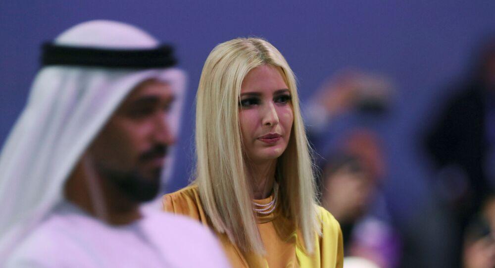 إيفانكا ترامب خلال حضورها مؤتمر المرأة العالمي في دبي، الإمارات العربية المتحدة، 16 فبراير/ شباط 2020