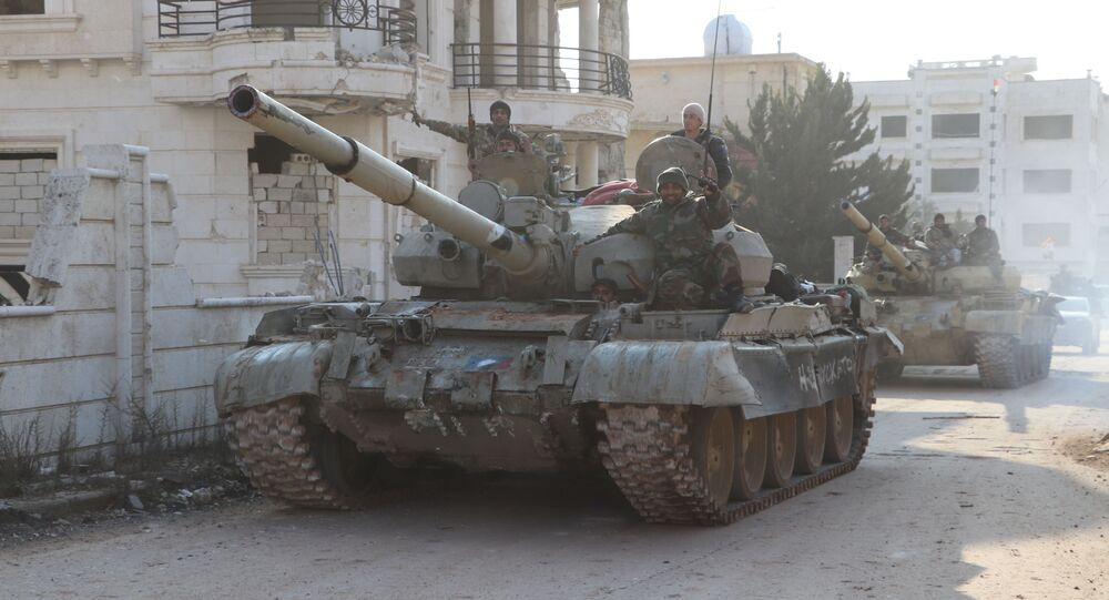 الجيش السوري في ضواحي حلب  الشمالية الغربية بعد قضائه على تنظيم جبهة النصرة