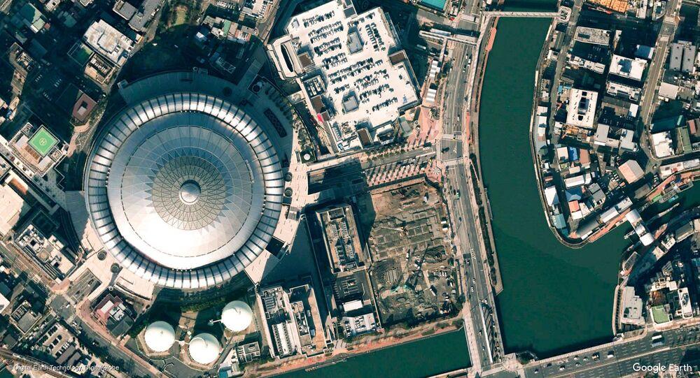 صورة من الفضاء لمدينة أوساكا، اليابان
