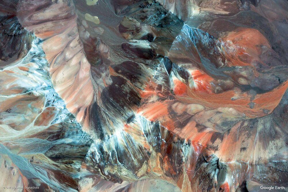 محافظة باريناكوتا بمنطقة أريكا وباريناكوتا من الفضاء، تشيلي