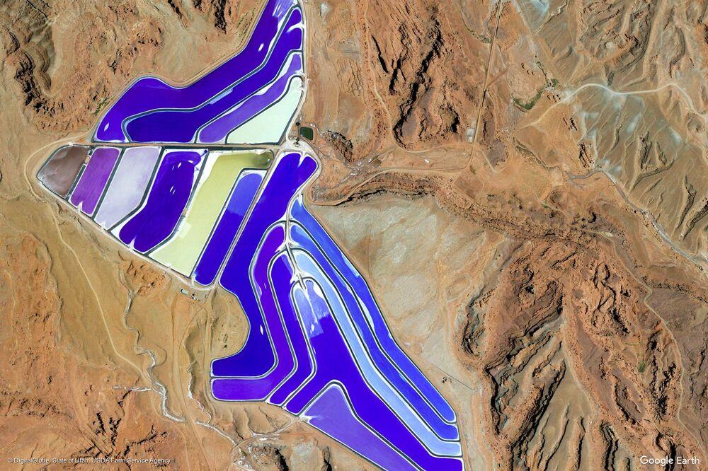 صورة من الفضاء لمدينة مواب، ولاية يوتا الأمريكية