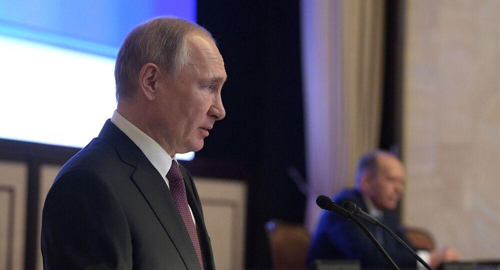 الرئيس الروسي فلاديمير بوتين خلال اجتماع مع جهاز الأمن الفدرالي