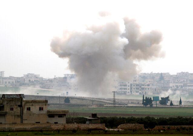 القصف التركي في مدينة إدلب شمال سوريا