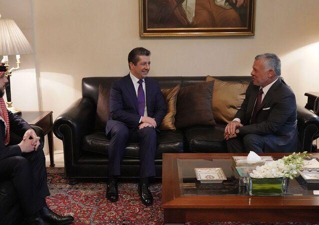 لقاء الملك الأردني عبدالله الثاني مع رئيس حكومة إقليم كردستان، مسرور بارزاني في عمان، الأردن 1 مارس 2020