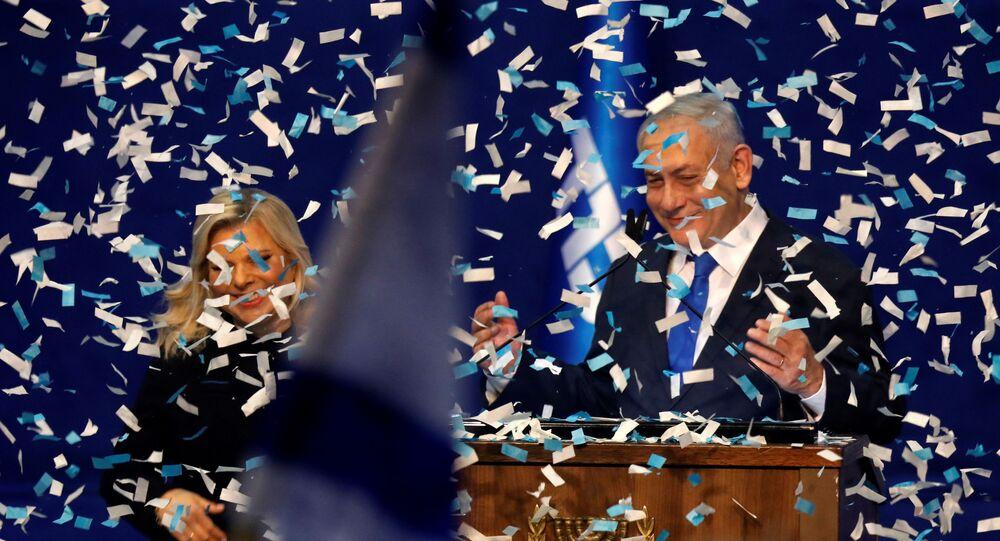 رئيس حكومة تسيير الأعمال الإسرائيلية بنيامين نتنياهو بعد فوز حزبه الليكود في انتخابات الكنيست الإسرائيلي