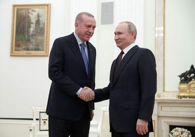 الرئيس فلاديمير بوين يلتقي مع نظيره التركي رجب طيب أردوغان في موسكو، 5 مارس 2020