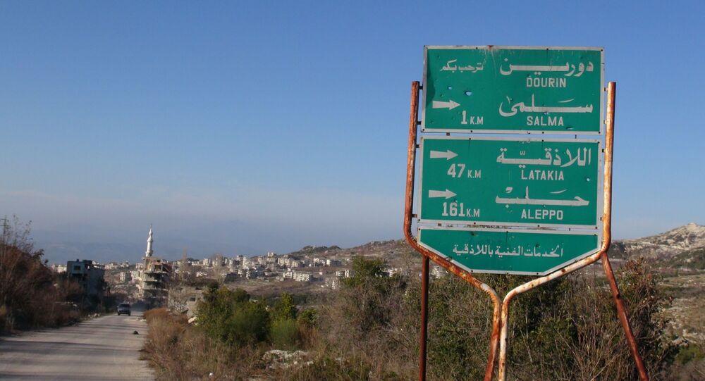 جزء من طريق حلب اللاذقية بعد تحريره