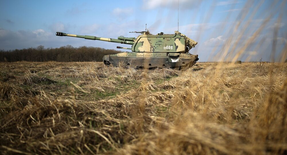 الجيش الروسي - مناورات عسكرية في إقليم جنوب روسيا، ميدان مولكينو العسكري في كراسنودارسكي كراي (المدفعية الذاتية الدفع مستا-إس إم)