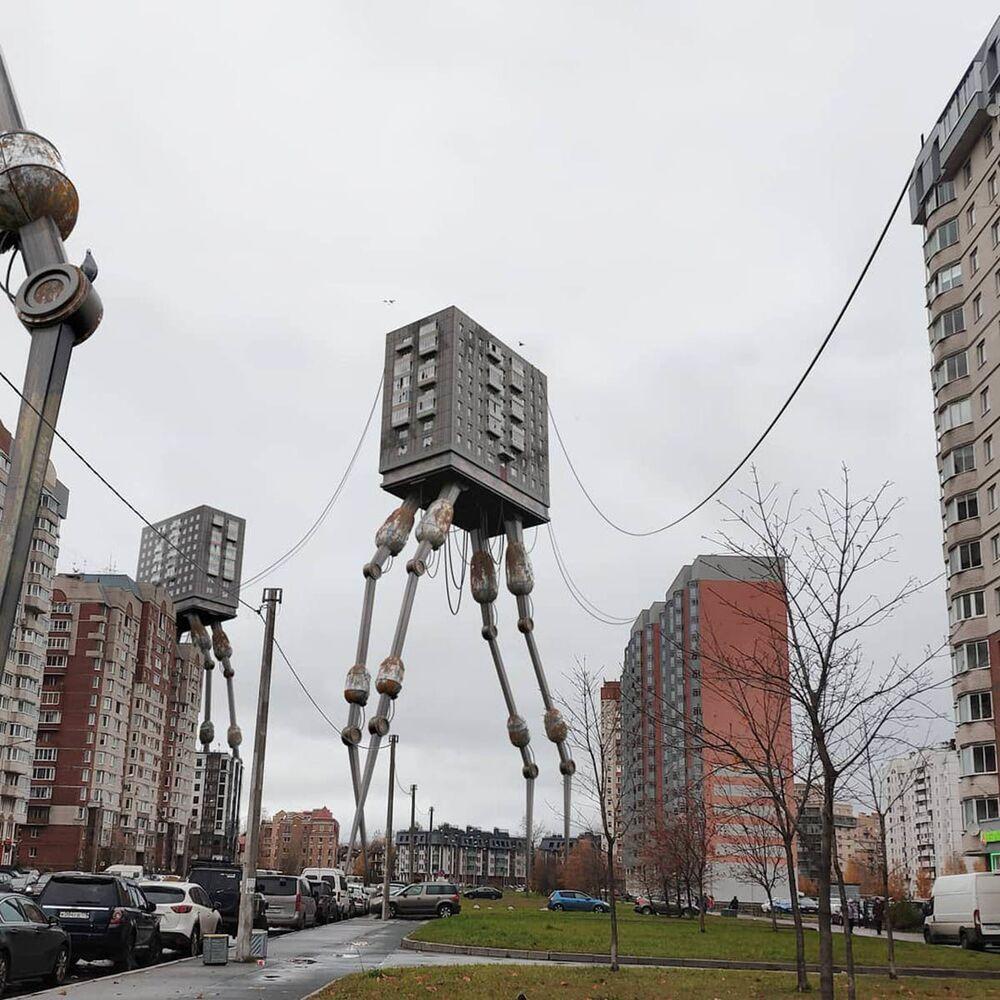 مبنى سكني يتنقل على ساقين في مدينة سان بطرسبرغ من عمل الفنان الروسي فاديم سولوفيوف