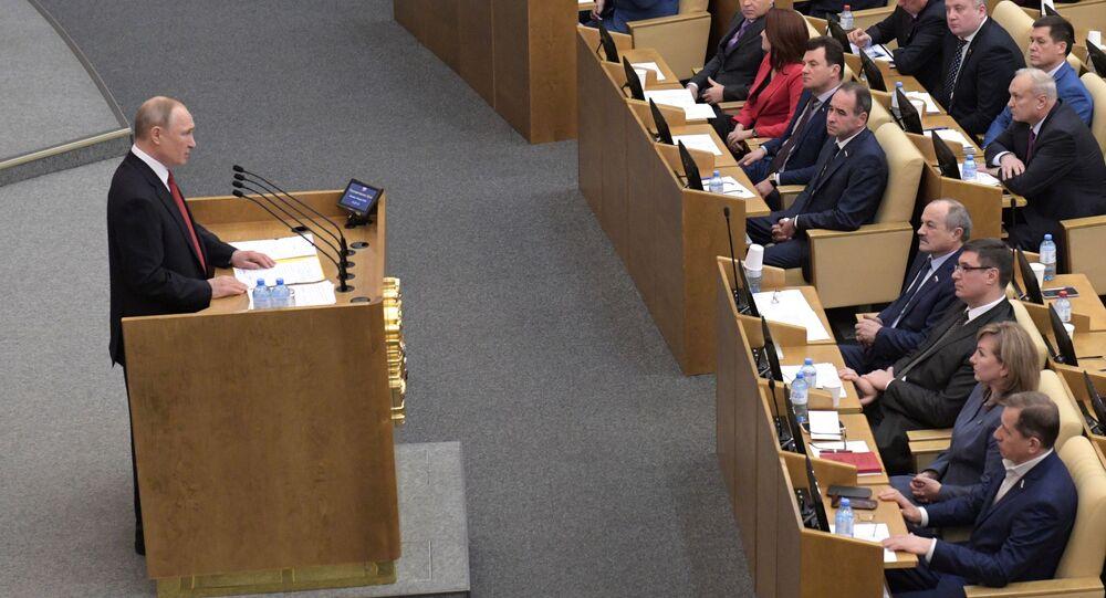 الرئيس الروسي فلاديمير بوتين يلقي كلمة أمام أعضاء مجلس الدوما الروسي، موسكو، روسيا 10 مارس 2020