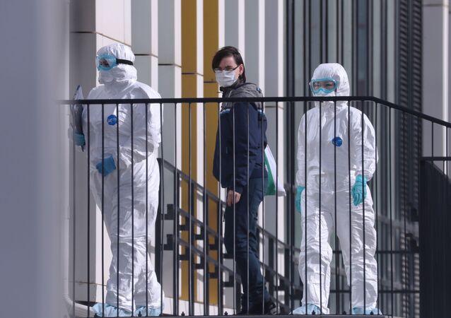 انتشار فيروس كورونا في روسيا - المشفى الطبي في كوموناركا، ضواحي موسكو، روسيا ١٤ مارس ٢٠٢٠