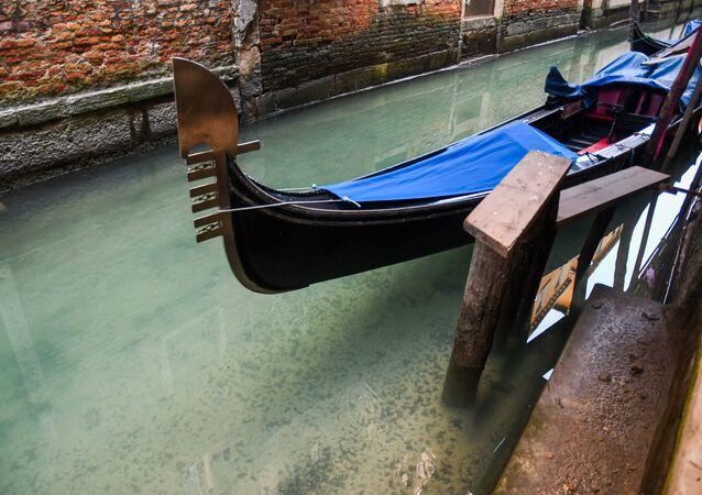 منظر يظهر شفافية المياه في البندقية الإيطالية مع تفشي الفيروس التاجي الجديد كورونا وتعميم الحجر الصحي في البلاد، 17 مارس 2020