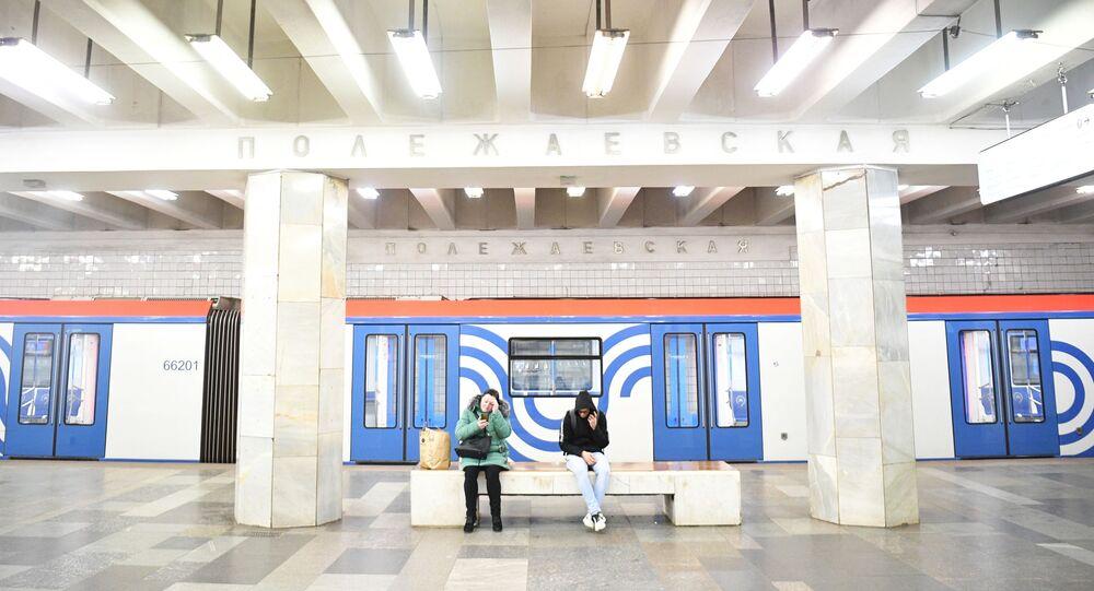 محطة مترو بوليجايفسكايا في موسكو، انتشار فيروس كورونا، روسيا 24 مارس 2020
