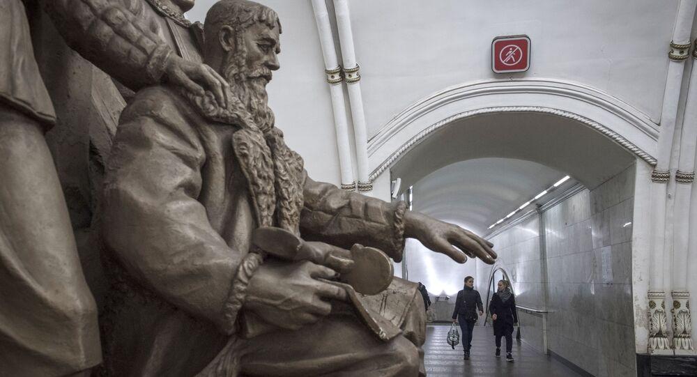 محطة مترو بيلوروسكايا في موسكو، انتشار فيروس كورونا، روسيا 24 مارس 2020