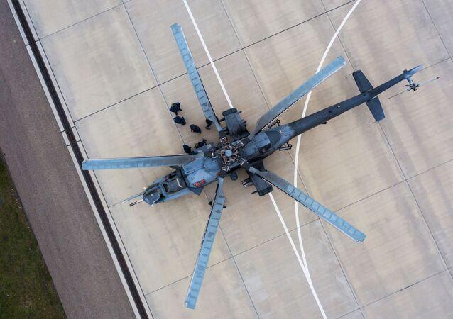 الجيش الروسي - مروحية مي-35ام، المناورات التكتيكية في كراسنودارسكي كراي، روسيا 24 مارس 2020