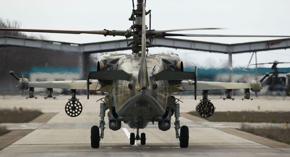 الجيش الروسي - مروحية كا-52 (أليغاتور)، المناورات التكتيكية في كراسنودارسكي كراي، روسيا 24 مارس 2020