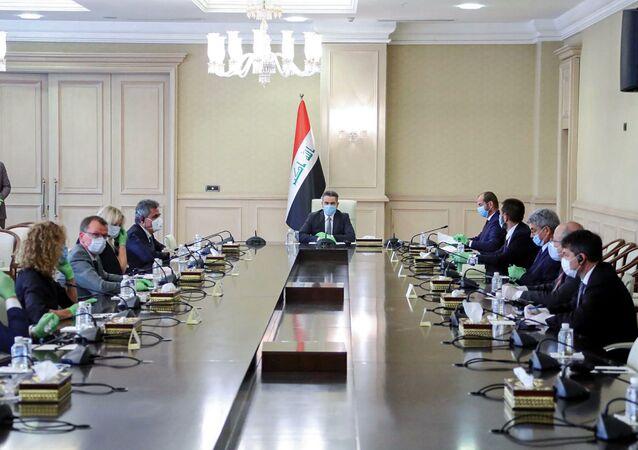 رئيس الوزراء العراقي المكلف عدنان الزرفي، في اجتماع مع سفراء دول الاتحاد الأوربي