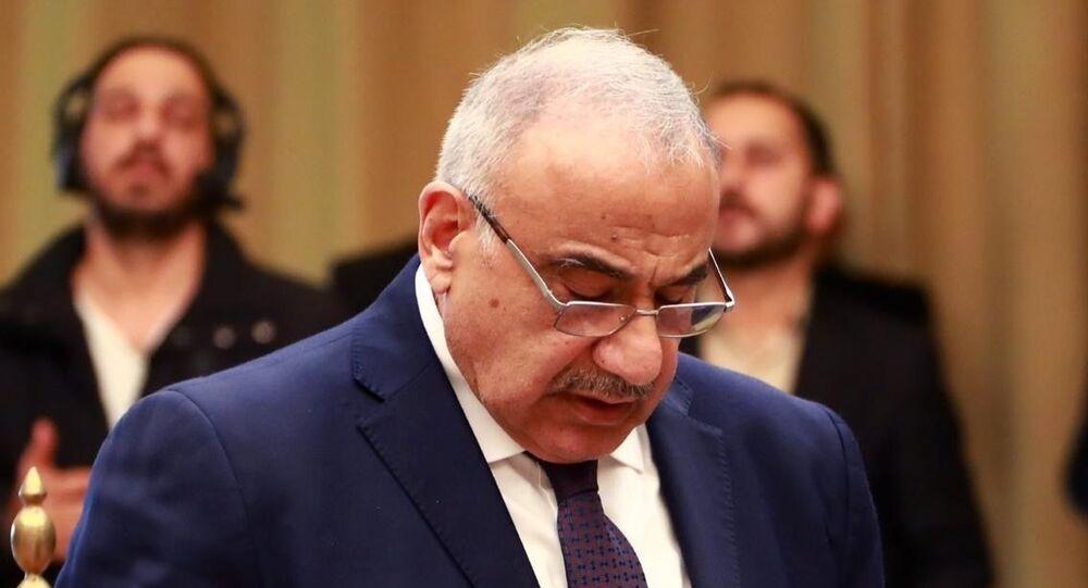 رئيس حكومة تصريف الأعمال العراقية عادل عبد المهدي