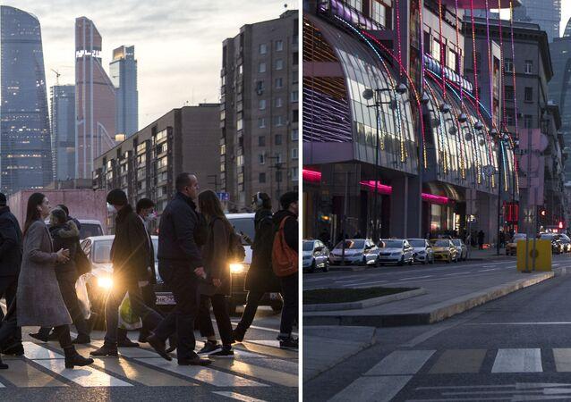 موسكو قبل وبعد إغلاق الأماكن العامة، في إطار اجراءات للوقاية من فيروس كورونا، 28 مارس 2020