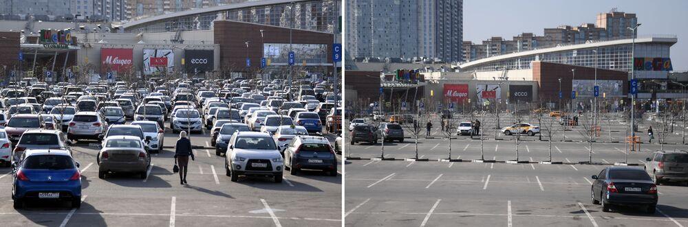 موسكو قبل وبعد إغلاق الأماكن العامة، في إطار اجراءات للوقاية من فيروس كورونا، المركز التجاري ميغا خيمكي في ضواحي موسكو، 28 مارس 2020