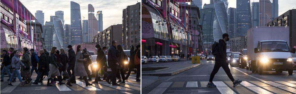 موسكو قبل وبعد إغلاق الأماكن العامة، في إطار اجراءات للوقاية من فيروس كورونا، شارع بولشايا دوروغوميلوفسكايا، 28 مارس 2020