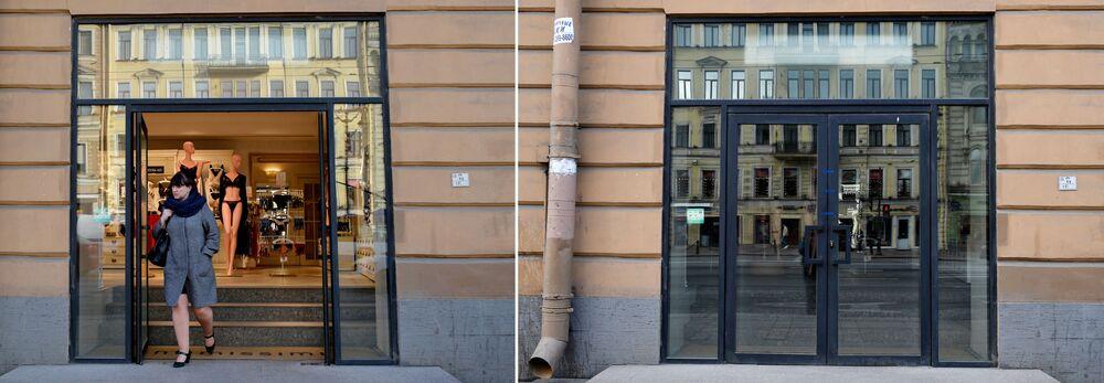 سان بطرسبورغ قبل وبعد إغلاق الأماكن العامة، في إطار اجراءات للوقاية من فيروس كورونا، 28 مارس 2020