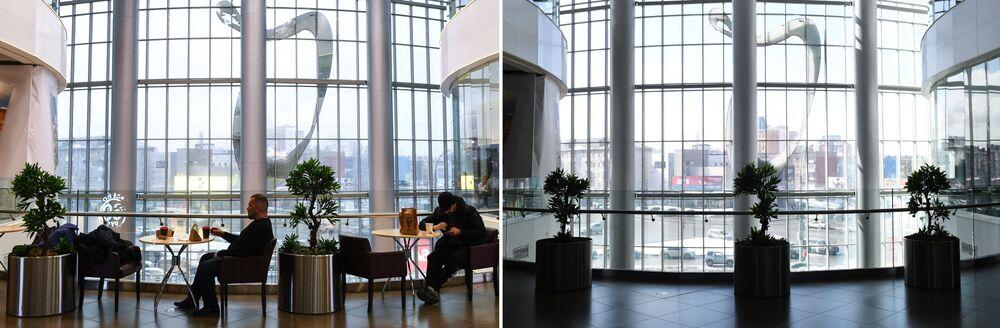 موسكو قبل وبعد إغلاق الأماكن العامة، في إطار اجراءات للوقاية من فيروس كورونا، المركز التجاري غاليريا نوفوسيبيرسك، 28 مارس 2020