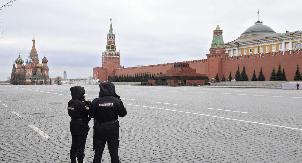 الساحة الحمراء خلال العزل الصحي، بسبب انتشار كورونا في موسكو، 30 مارس 2020
