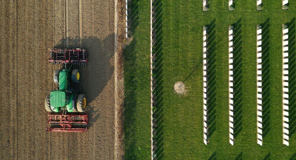 مزارع فرنسي يقود جراره لإعداد الأرض قبل زرع بنجر السكر في أنوكس، فرنسا، 27 مارس 2020. ناشدت فرنسا يوم الثلاثاء الماضي العمال الذين تم تسريحهم من العمل خلال أزمة فيروس كورونا (COVID-19) لمساعدة المزارعين على اختيار الفاكهة والخضروات لكي لا تُترك للتعفن في الحقول بسبب نقص العمال الموسميين.