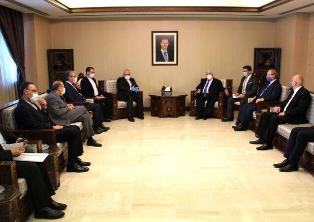 وزير الخارجية الإيراني محمد جواد ظريف في العاصمة السورية دمشق 20 أبريل 2020