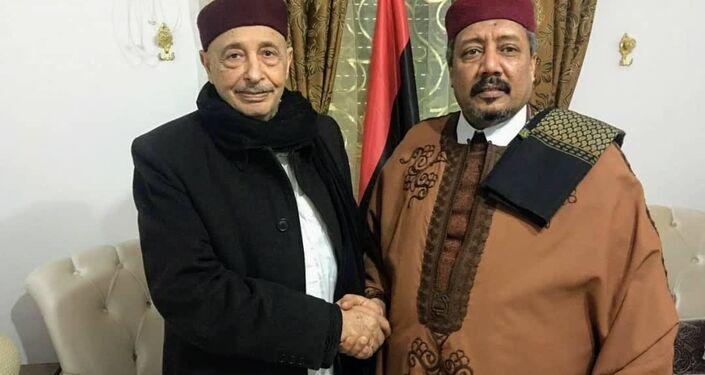 الشيخ  السنوسي الحليق، رئيس المجلس الأعلى لقبائل زويا الليبية يقابل عقيلة صالح رئيس البرلمان الليبي