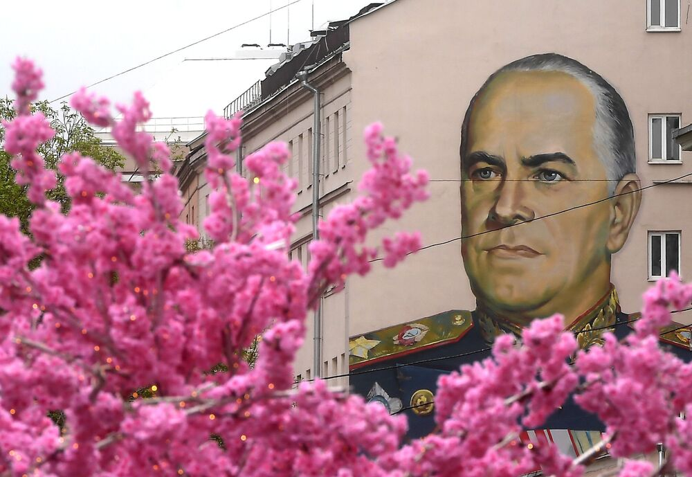 رسم غرافيتي يصور المارشال البطل غيوري جوكوف في شارع ستاري أربات (شربات القديم) في موسكو