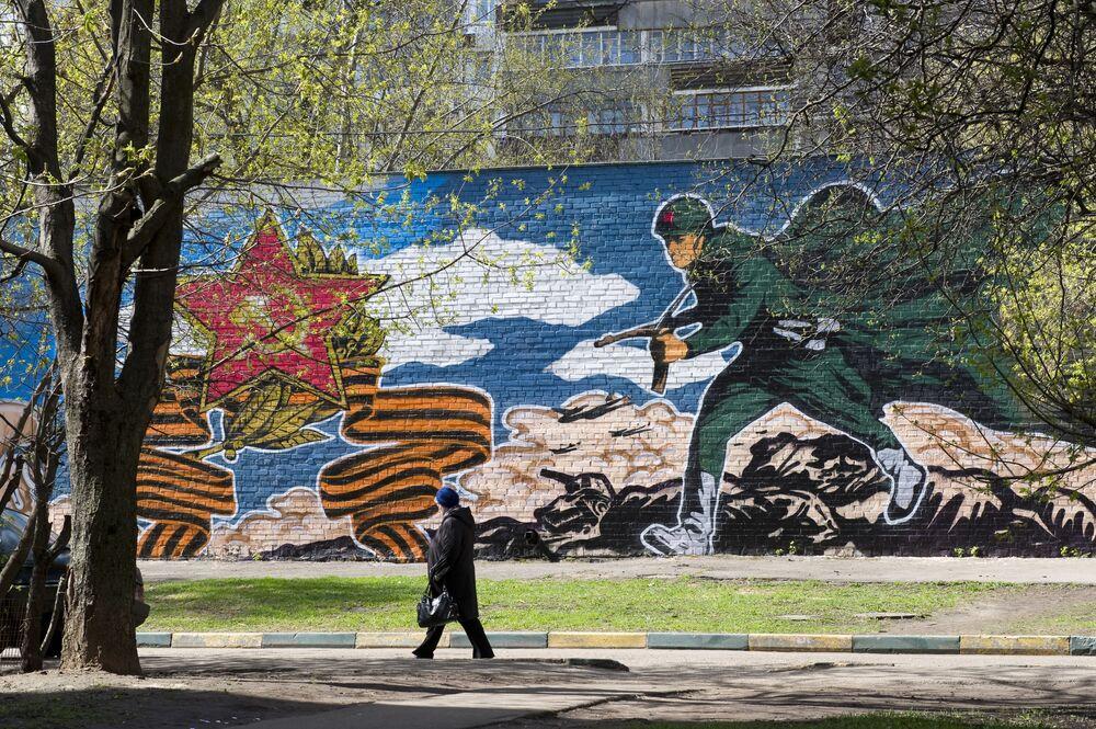 رسم غرافيتي بمناسبة عيد النصر في الحرب الوطنية العظمى