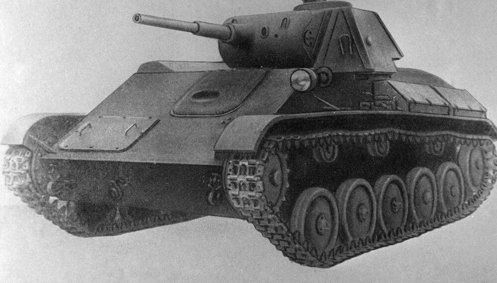 نسخة من رسم توضيحي للدبابة الخفيفة تي-70 من مجموعة متحف القوات المدرعة السوفيتية