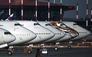 طائرات الخطوط الجوية التابعة لشركة روسيا في موقف للطائرات في مطار شيريميتيفو موسكو، بعد توقف الرحلات الجوية، وإدخال اجراءات وقائية ضد انتشار كورونا في البلاد، 7 أبريل  2020