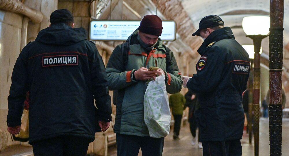 محطات مترو خلال العزل الذاتي في موسكو -  نوفوكوزنيتسكايا، جائحة كورونا 23 أبريل 2020