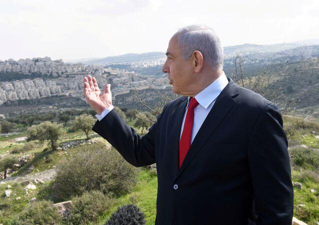رئيس الوزراء الإسرائيلي بنيامين نتنياهو، المستوطنات، الضفة الغربية،  20 فبراير 2020
