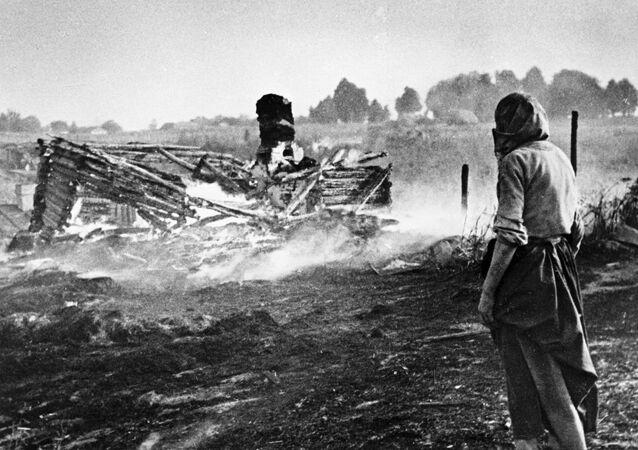 صور من أرشيف الحرب الوطنية العظمى (1941 - 1945) - امرأة تقف وسط حقل أحرقه النازيون في إحدى قرى بيلاروسيا قبل الانسحاب منها، 1944